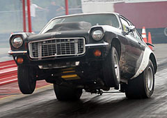 Drag car doin a wheely